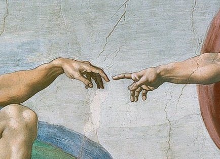 Close-up of Adam's and God's hands in Creation of Adam