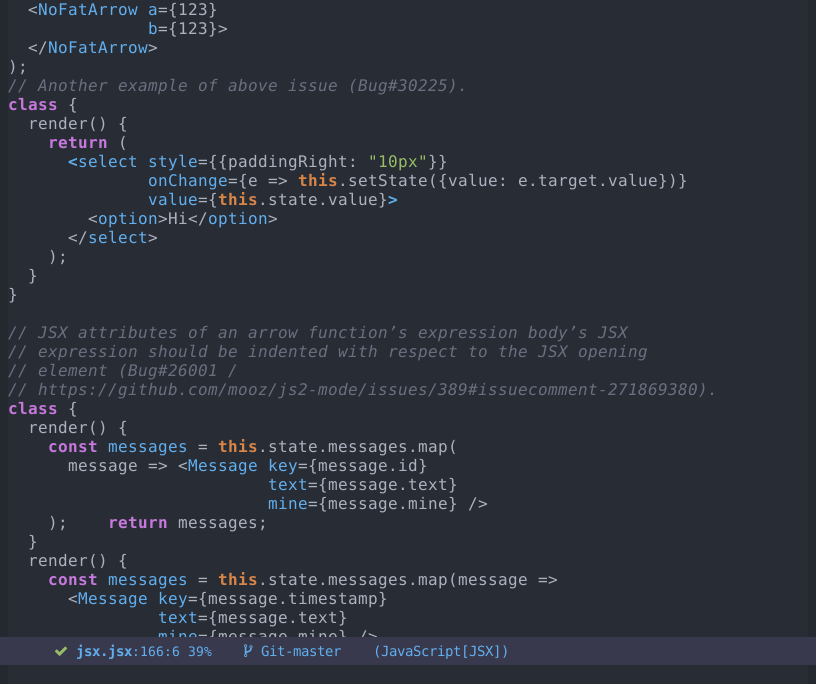 Screenshot of JSX support in Emacs